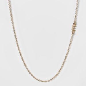 Gold BaubleBar Side Initial E Necklace